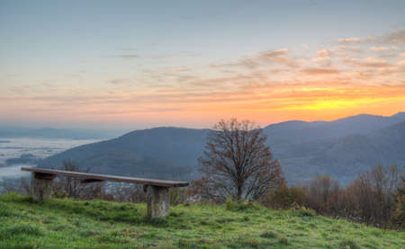 meditative: Bench in the morning - HDR Stock Photo