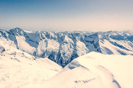 snow covered mountain: Mountain ridge covered with snow, view from Ankogel, Austria