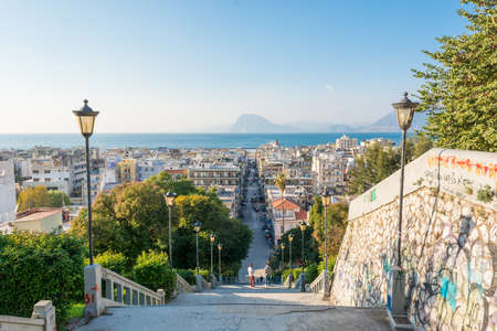 Staircase descending into a city, Patras, Greece