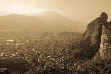 kalampaka: Aerial view of a town of Kalampaka, Greece with sandstone walls rising above it Stock Photo