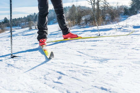 Cross country skiing. Close up of shoes and skiis. Stock Photo