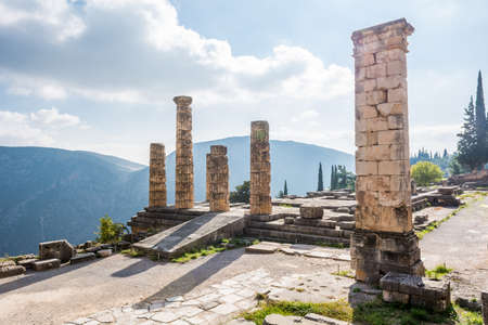 Ancient ruins of the Temple of Apollo, Greek God at Delphi. photo