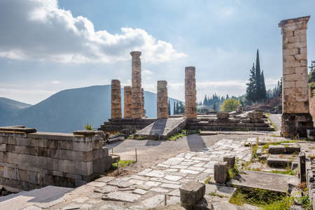 Ancient ruins of the Temple of Apollo, Greek God at Delphi.