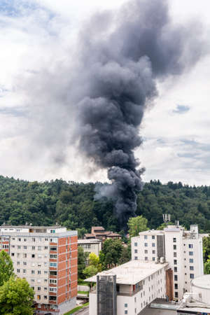 Column of black smoke rising above a forest near residential buildings.