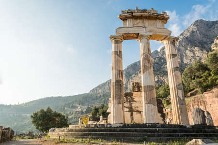 athena: Ancient ruins of temple dedicated to Goddess Athena. Ancient Olimpia, Greece.