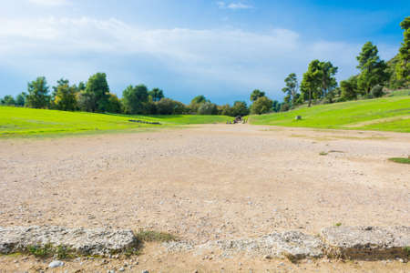 Ancient stadium grounds of ancient Olympia, Greece.