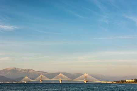 peloponnes: Rio Antirio Bridge at dusk. Patras, Greece.