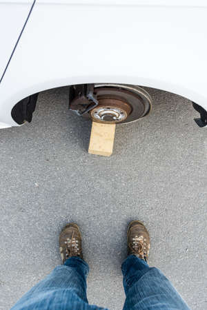 stolen: Car with stolen wheels. View from a thief point of view. Stock Photo