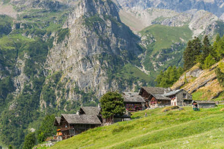 traditionally: Mountain village. Buildings traditionally build from stone. Stock Photo