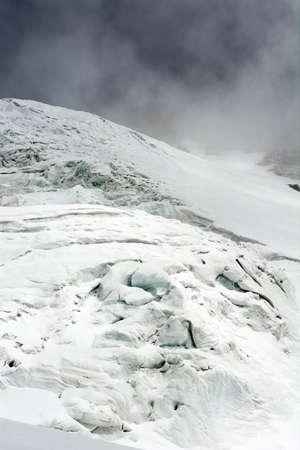 crack climb: Glacier. Detailed shot of ice cracking on glacier way.