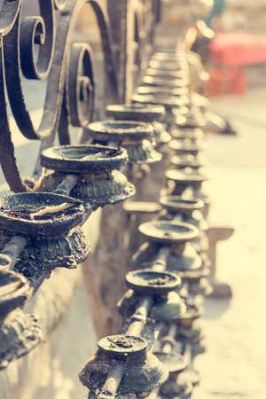Butter candles. Closeup of many candles at Monkey temple, Kathmandu. Stock fotó