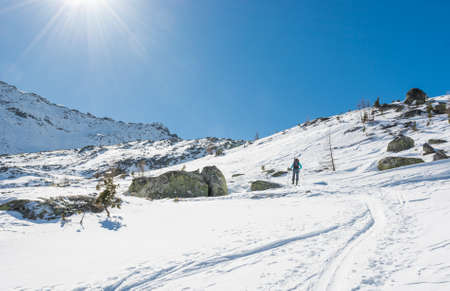 ski walking: Skier walking on a trail. Ski touring is a winter off-piste sport.