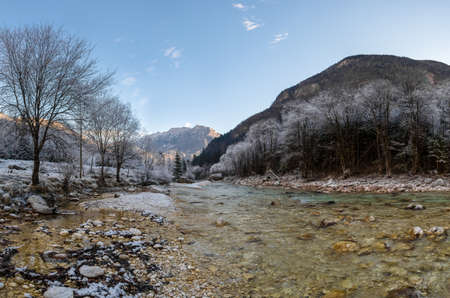 dawns: Mountain river in winter. Forest and banks covered with ice ans snow.