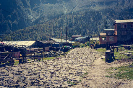 nepali: Traditional stone built village. Cobble road leading through Nepali village. Stock Photo