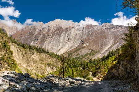 massif: Huge mountain massif. Flat slope rising above forest at Annapurna circuit in Nepal.