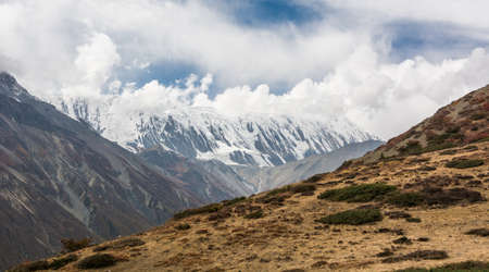 massif: Mountain massif covered in snow. Great Barrier, Annapurna region in Nepal.