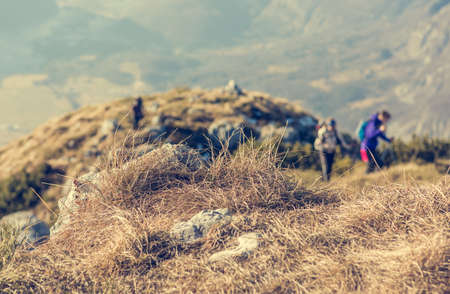 ascending: People ascending a mountain. Hikers blurred in the background. Stock Photo