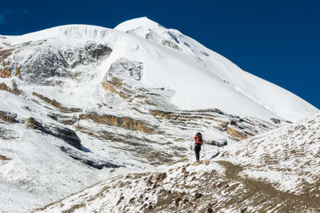 Female trekking in a snowy mountain landscape. Annapurna circuit reaching Thorong La pass.