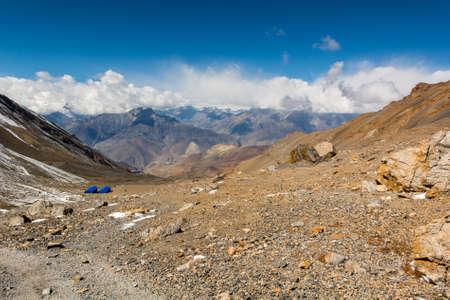 wasteland: Arid highland wasteland, stone mountain desert. Muktinath region along Annapurna circuit trek.