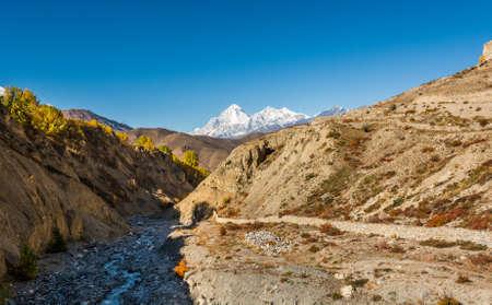 Arid mountain valley. Muktinath region in Nepal. Stock Photo