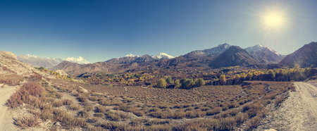 wasteland: Panorama of arid mountain wasteland. Muktinath region in Nepal.
