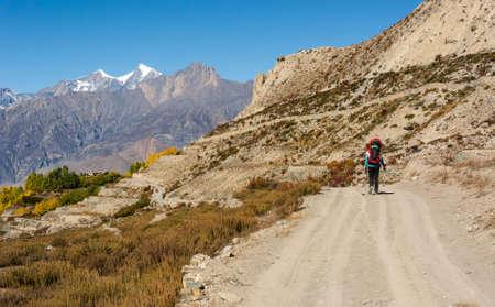 Lonely trekker walking on a road. Annapurna circuit trek in Nepal. Stock Photo