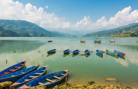 phewa: Colorful boats anchored in lake.