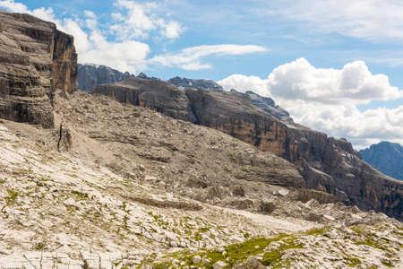 Panoramic mountain view of Italian Dolomites from Passo Groste. Begining of Via Bocchete Ferrata.