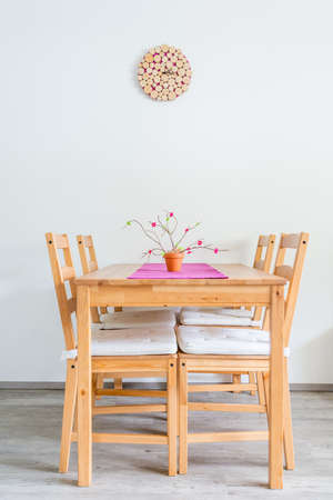 Minimalistic dinning table. Stock Photo