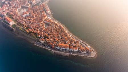 Birds eye view of mediterranean coastal town.
