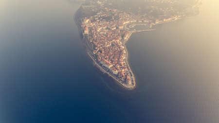 Aerial view of mediterranean coastal town.