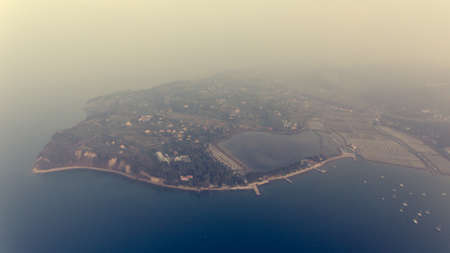Aerial view of cliffs shoreline. Standard-Bild