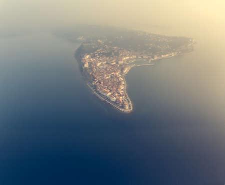 Picturesque aerial view of mediterranean coastal town. Standard-Bild