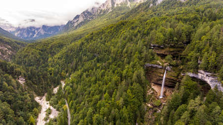 Aerial view of mountain valley with double water fall. Standard-Bild