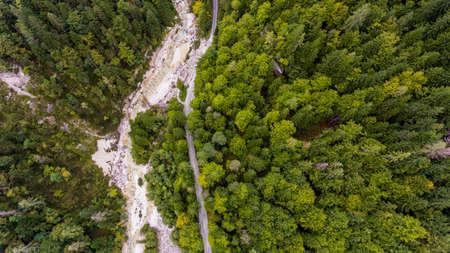 Drop down view of river bed running through a forest. Standard-Bild