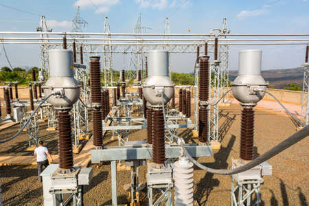 High voltage transformer modern substation electrical switchyard. Stock Photo