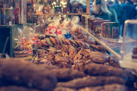 Traditional holiday sweets sold at outdoor market. Banco de Imagens