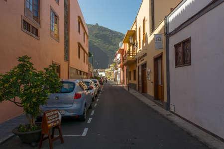 Garachico, Spain - February 6: Traditional streets of coastal town, on February 6 2019 in Garachico, Spain