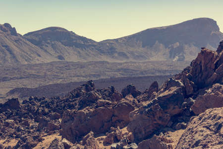 Spectacular volcanic landscape in desert environment with wicked lava shapes.