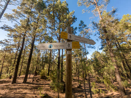 Sign post showing direction for hiking spectacular volcanic landscape.