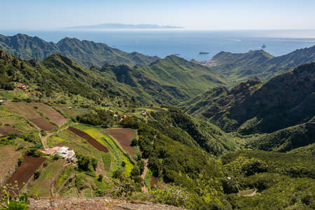 Spectacular panorama view of forest covering atlantic island. 写真素材