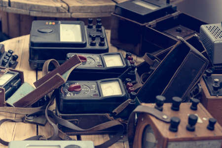 Vintage analogue measuring devices on display at local museaum. Stock Photo