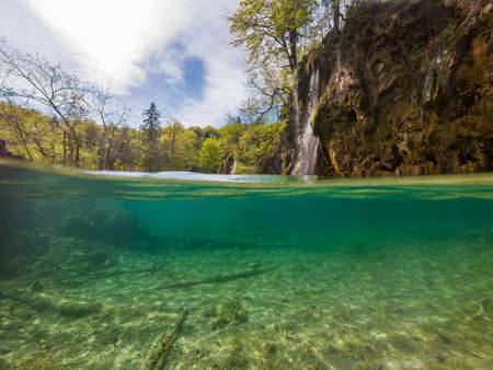 Amazing split view of lake with sunken tree trunk and waterfall in the background. Plitvice national park, Croatia.