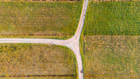 Drop down view of dirt road T-junction surrounded with fields. Banco de Imagens