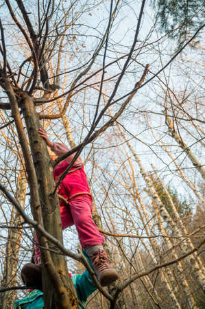Proud active mother helping her daughter to climb a tree in forest.