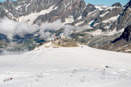 High altitude ski resort on glacier during summer.