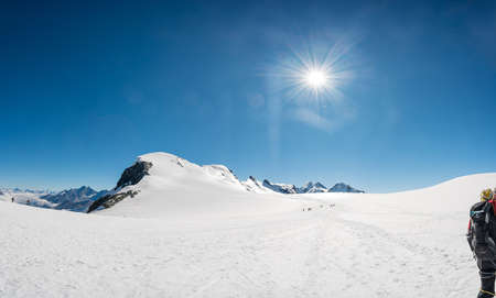 Spectacular mountain panorama of Breithorn raising above glacier.