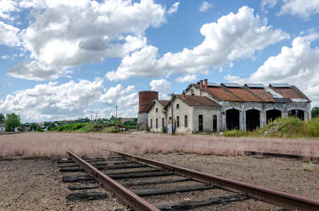 going nowhere: Abandoned train station Stock Photo
