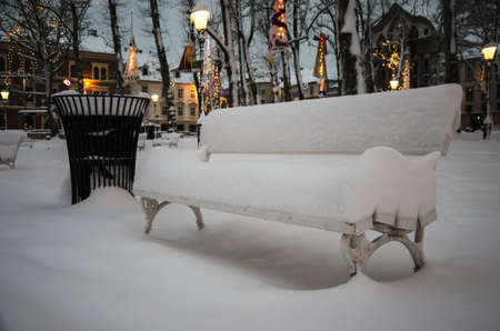 8 12: Bench in park cowered with snow in park, Ljubljana  8 12 2012 , Slovenia