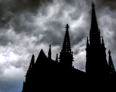doom: Lightning strike with cathedral silhouette in front, Mulhouse, France  Stock Photo
